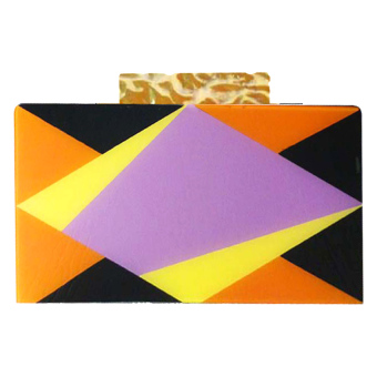 Melrose Jewelry Rhombus Clutch Bag (Orange / Yellow / Purple) - picture 2