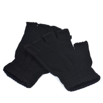 Men Black Knitted Stretch Elastic Warm Half Finger Fingerless Gloves - 4