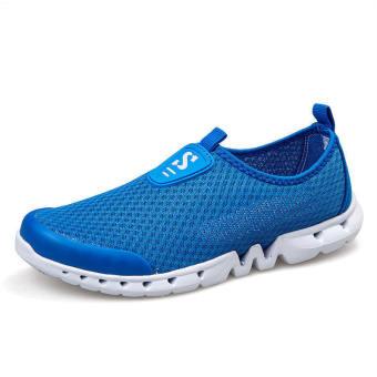 Men Breathable Mesh Low Cut Sneakers-Dark Blue - picture 2