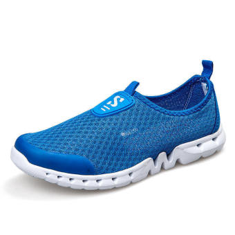 Men Breathable Mesh Low Cut Sneakers-Dark Blue