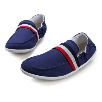 Men Canvas Flat Loafers Shoes – Dark Blue - picture 2