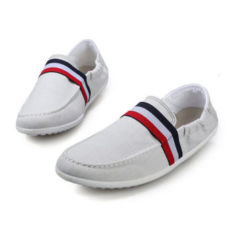 Men Canvas Flat Loafers Shoes White - picture 2