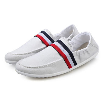 Men Canvas Flat Loafers Shoes White