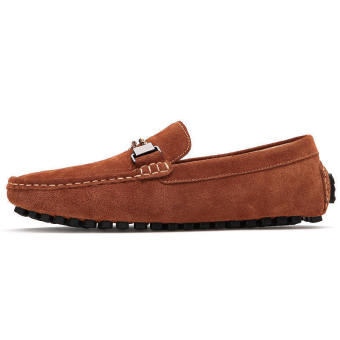 Men Casual Leather Driving Loafers - Brown - picture 3