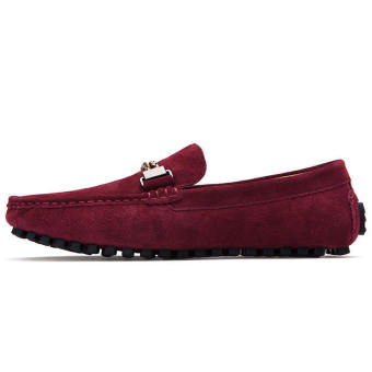 Men Casual Leather Driving Loafers - Red - picture 2