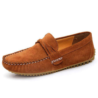 Men Casual Leather Fashion Loafers -Light Brown