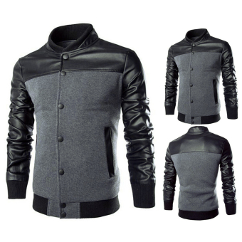 Men Casual Leather Sleeves Jacket (Grey) - 2