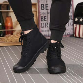 Men Casual Martin Boots Ankle Boots High-Cut Sneakers(Black) - intl - 3