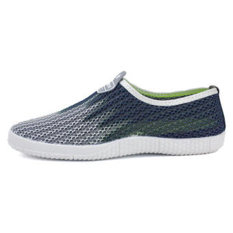 Men Fashion Breathable Mesh Sport Bicolor Low Cut Sneakers-Grey - picture 2