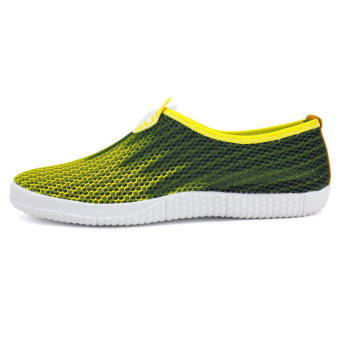 Men Fashion Breathable Mesh Sport Bicolor Low Cut Sneakers-Yellow - picture 2