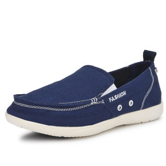 Men Fashion Canvas Flat Loafers Shoes – Dark Blue