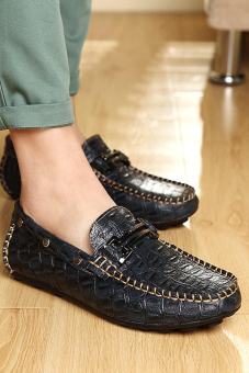 Men Fashion Crocodile striae Leather Loafers - Dark blue - picture 2