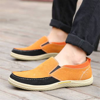 Men Fashion Leather Loafers Car Shoes -Yellow - picture 4
