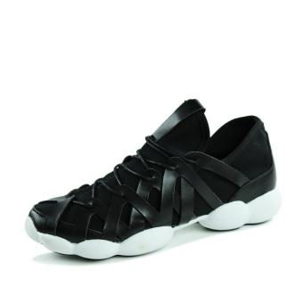 Men Fashion Leisure Low Cut Sneakers-Black