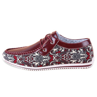 Men Fashion Pattern Lace-Ups Flat Shoes- Red - picture 2