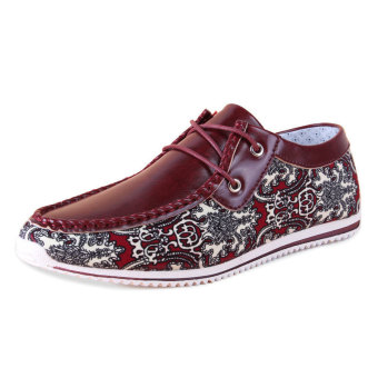 Men Fashion Pattern Lace-Ups Flat Shoes- Red