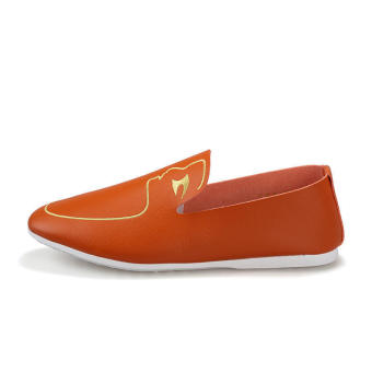 Men Fashion Pattern Loafers - Orange - picture 2