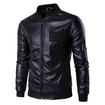 Men Fashion PU Leather Motorcycle Jackets EU Size - intl