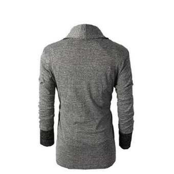 Men Fashion Pure Color Wool Cardigan Sweater(Lightgrey) - intl - 2