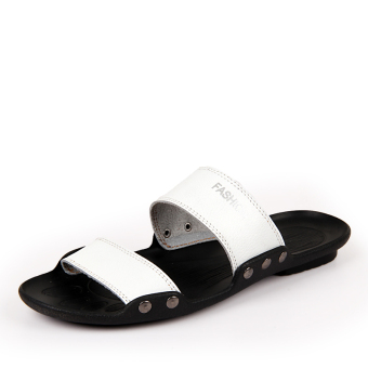 Men Fashion Summer Classical Leather Flip-Flops-White - picture 2