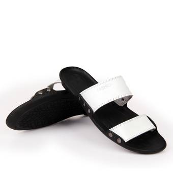 Men Fashion Summer Classical Leather Flip-Flops-White