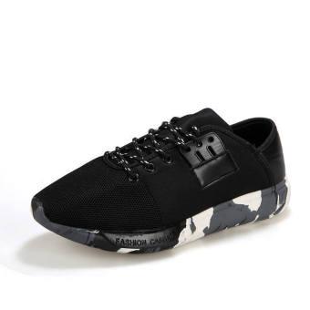 Men Fashion Trend Camouflage Low Cut Sneakers-Black