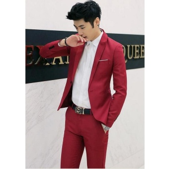 Men Formal Wedding Bridegroom Suit One Button Slim Fit JacketTuxedos Coat Pants - intl - 2