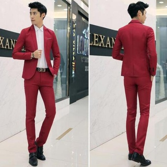 Men Formal Wedding Bridegroom Suit One Button Slim Fit JacketTuxedos Coat Pants - intl - 4
