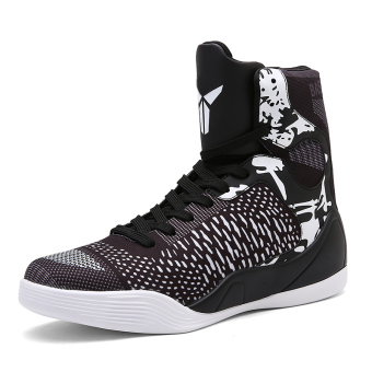 Men hight-top autumn New style men's shoes basketball shoes (2090 black)