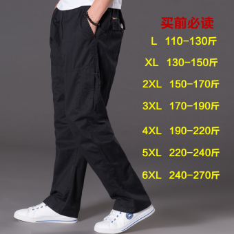 Men Plus-sized multi-with pockets trousers thin casual pants (2011 black)