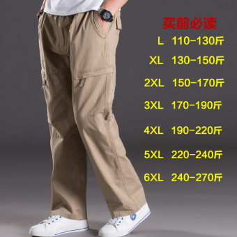 Men Plus-sized multi-with pockets trousers thin casual pants (2012 yellowish brown)