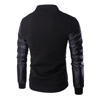 Men 's Fashion Zipper Leather Sleeve Stitching Jacket (Black) -intl - 2
