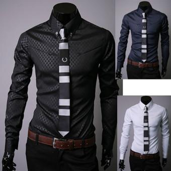 Men Shirt Long Sleeve Slim Fit Man Dress Formal Shirts Plus Size 5XL Dark Blue - 2