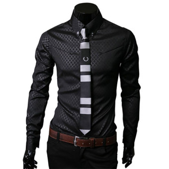 Men Shirt Long Sleeve Slim Fit Man Dress Formal Shirts Plus Size 5XL Dark Blue - 3