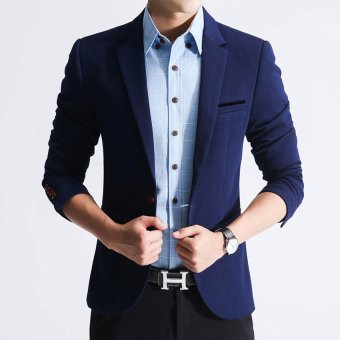 Men slim fit fashion cotton blazer Suit Jacket black blue khaki plus size M to 5XL Male blazers Mens coat Wedding dress(Blue)