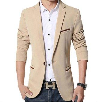 Men slim fit fashion cotton blazer Suit Jacket black blue khakiplus size M to 5XL Male blazers Mens coat Wedding dress(Red) - 3