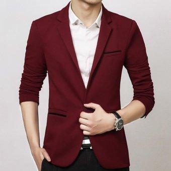 Men slim fit fashion cotton blazer Suit Jacket black blue khakiplus size M to 5XL Male blazers Mens coat Wedding dress(Red) - 2