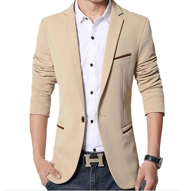 Men slim fit fashion cotton blazer Suit Jacket khaki | Lazada PH