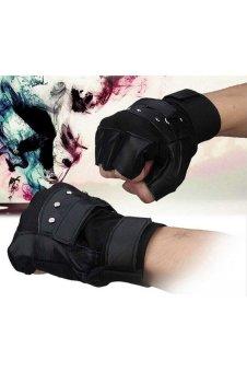 Men Soft Sheep Leather Driving Motorcycle Biker Fingerless Warm Gloves Black - 2
