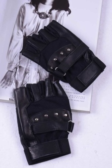 Men Soft Sheep Leather Driving Motorcycle Biker Fingerless Warm Gloves Black