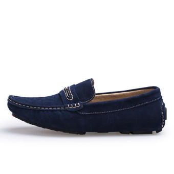 Men Spring and Autumn Fashion Leather Loafers - Blue - picture 2