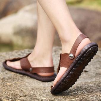 Men Summer Beach Shoes Sandals Fashion Designers Men Sandals Brand Leather Slippers for Men Sandals ( Dark Brown) - intl - 5