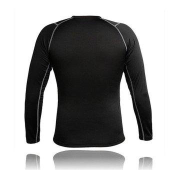 Men Thermal Fleece Compression Base Layer Shirt Leggings Tights Set- INTL - 3