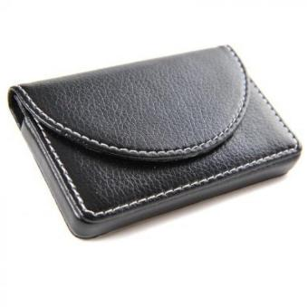 Men's Business Name Card Leather Wallet Holder with Magnetic Shut Black