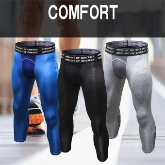 Men's Compression Fitness Pants 3/4 Sports Tights Leggings(Black) - intl - 2