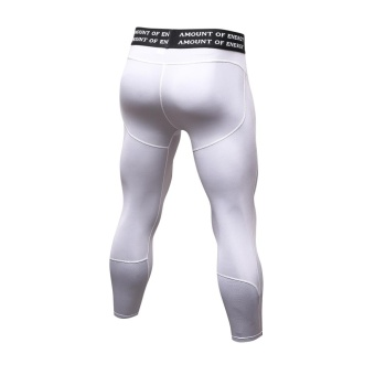 Men's Compression Fitness Pants 3/4 Sports Tights Leggings(White) - intl - 3