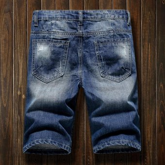 Men's Denim Hole Middle Pants Frayed Fifth Jeans Breeches Jeans Pirate Shorts For Men Hot Pants - intl - 2