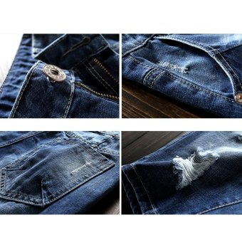 Men's Denim Hole Middle Pants Frayed Fifth Jeans Breeches Jeans Pirate Shorts For Men Hot Pants - intl - 5