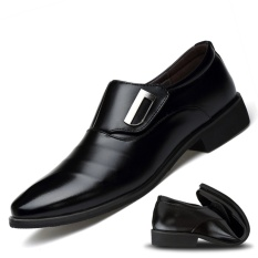 Mens English-style Pointed Toe Fleece-lined Faux Leather Shoes (Black New Style) Philippines