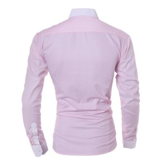 Men's fashion casual solid color long-sleeved shirt Slim pink - Intl - 3